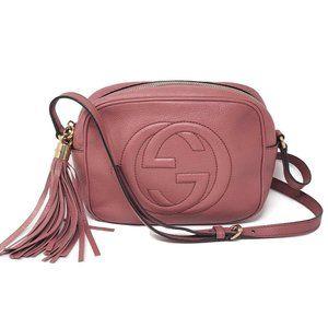 Auth Gucci Soho Disco Camera Leather Crossbody Bag